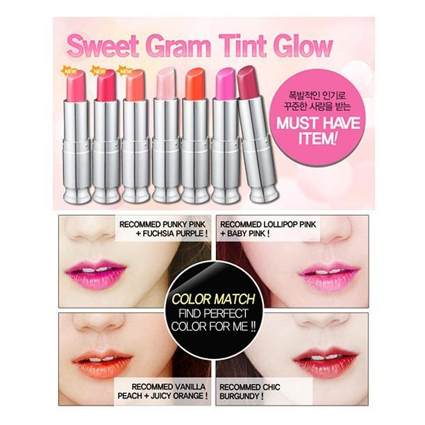 [SECRET KEY] SWEET GLAM TINT GLOW  Rp 110.000,- .  1. Melembabkan seperti lipbalm 2. Warna yang alami dan lembut 3. Tidak lengket dengan warna yang tahan lama 4. Membentuk lapisan pelindung pada bibir, membuat bibir lebih mengkilat (glossy). Bisa digunakan dengan atau tanpa lipstik. Tersedia dalam 6 warna pilihan 1. Juicy Orange 2. Fuchsia Purple 3. Chic Burgundy 4. Funky pink 5. lollipop pink 6. vanilla peach