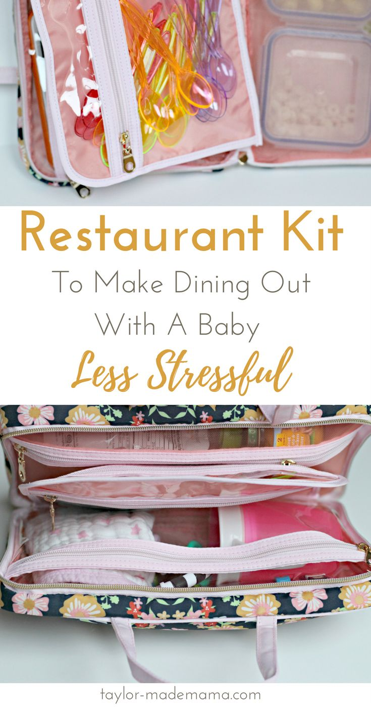 10 tips for how to make going out to eat with a baby less stressful and more enjoyable for the whole family. Create a Restaurant Kit with all the essentials you need to reduce the stress of dining out with babies. Keep it in the car, and you'll always be prepared! You'll find a full list of contents for babies and suggested additions for older babies and toddlers.