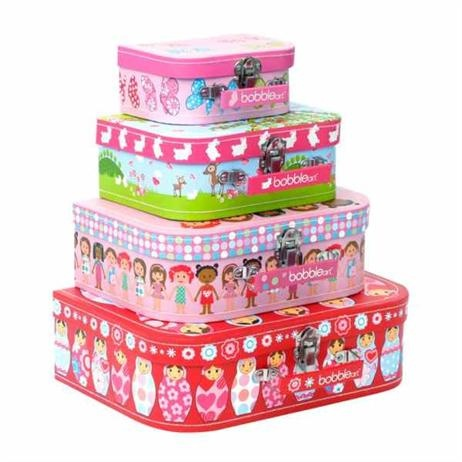 Bobble Art Suitcase Set - Dolls, Gifts for Girls  Bobble Art Suitcase Set - Dolls          Price: $39.95     Gorgeous Dolls themed suitcase set by Bobble Art - includes four different sizes and four different designs in each set. Great for travelling, a place to stash away little treasures or even perfect as a neat storage idea.