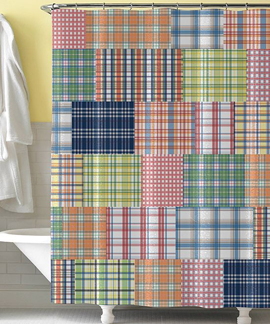 Blue Preppy Plaid Shower Curtain | Daily deals for moms, babies and kids