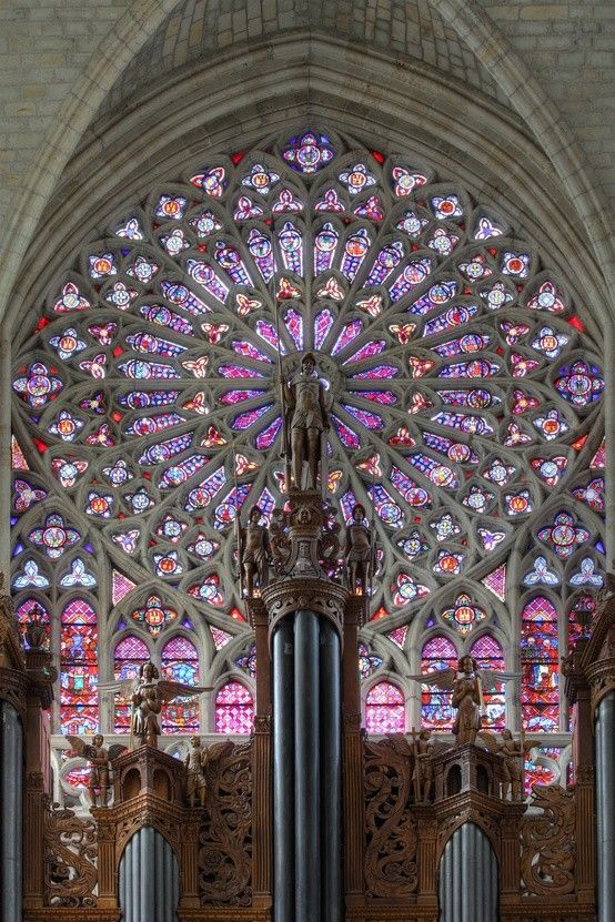 Magnificent Stained-Glass Window -   Northern Rose window and main organ of the Cathedrale de Saint-Gatien, Tours, France