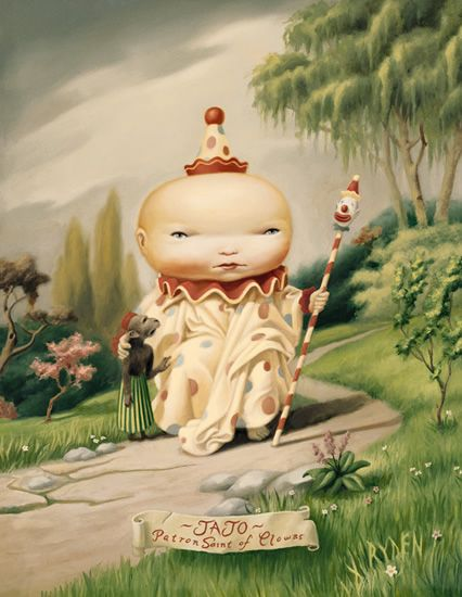 Mark Ryden (we have a reproduction of this piece, even though I suffer from coulrophobia. Clowns...arrrgghhh!)