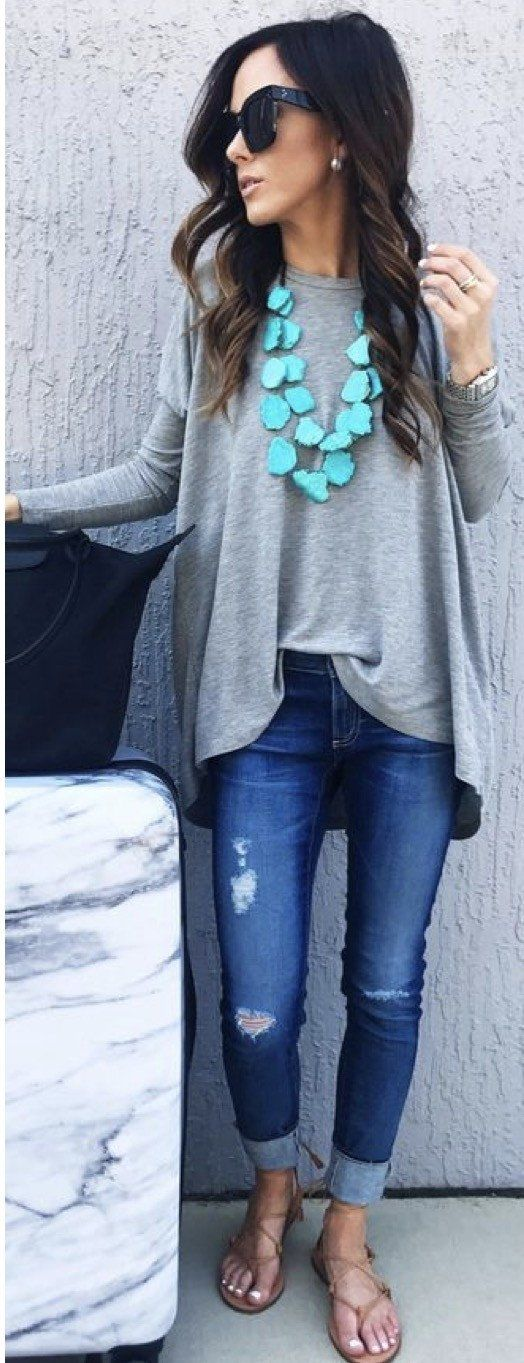 #summer #outfits Grey Oversized Tee + Ripped Skinny Jeans + Mint Necklace // Shop this outfit in the link