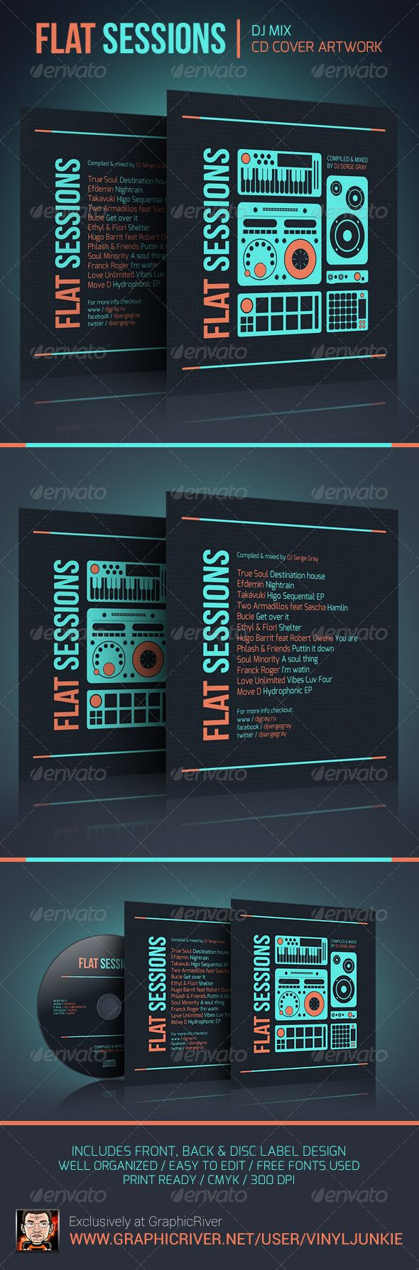 Flat Sessions  DJ Mix CD Cover Artwork — Photoshop PSD #dj #party • Available here → https://graphicriver.net/item/flat-sessions-dj-mix-cd-cover-artwork/6021444?ref=pxcr