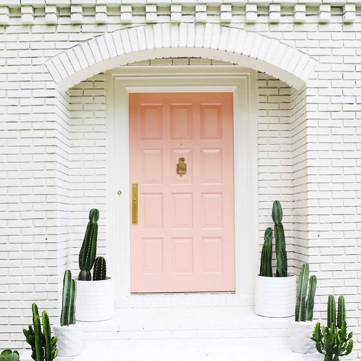 pink door // white brick // potted cacti flank door and steps