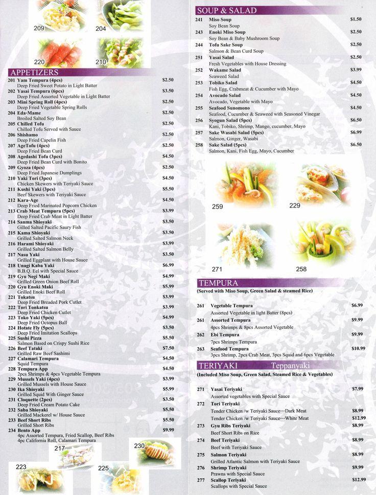 Syogun Japanese Cuisine menu