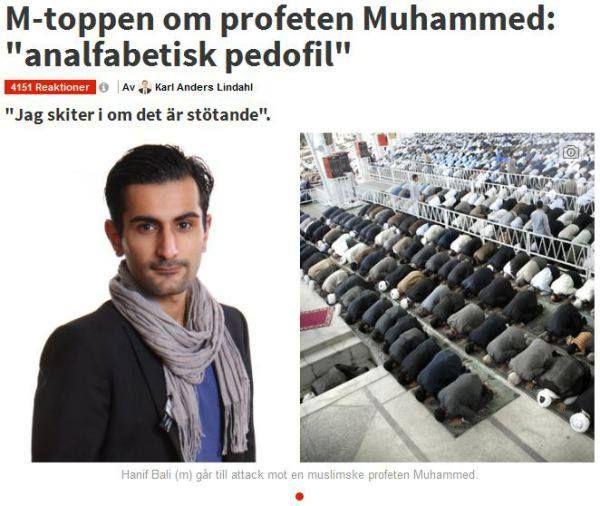 M-toppen om profeten Muhammed analfabetisk pedofil.