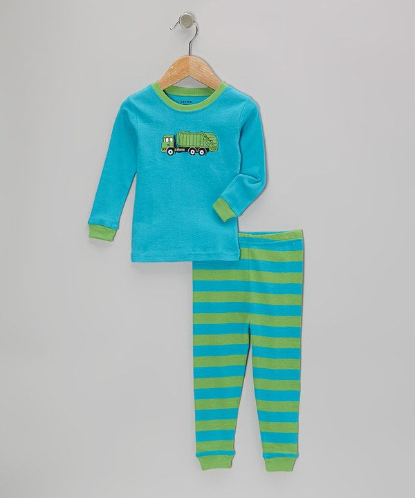 Look At This Leveret Teal Amp Green Garbage Truck Pajama Set