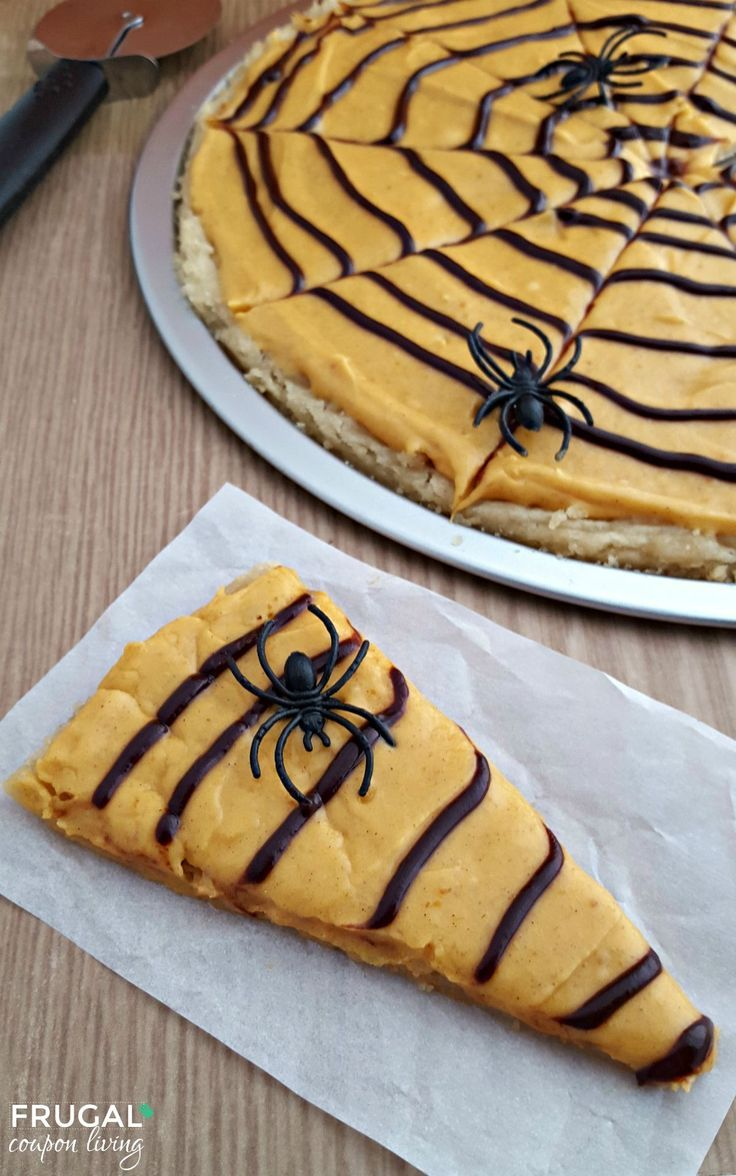 Pumpkin Spiced Spider Web Cookie Pizza - add some plastics spiders to this fun Halloween Food Idea on Frugal Coupon Living.