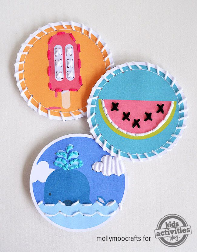 MollyMoo – crafts for kids and their parents Free Printable Summer Themed Sewing Cards