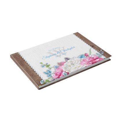 Antique White Rose Floral Rustic Guest Book - antique wedding gifts  special custom party
