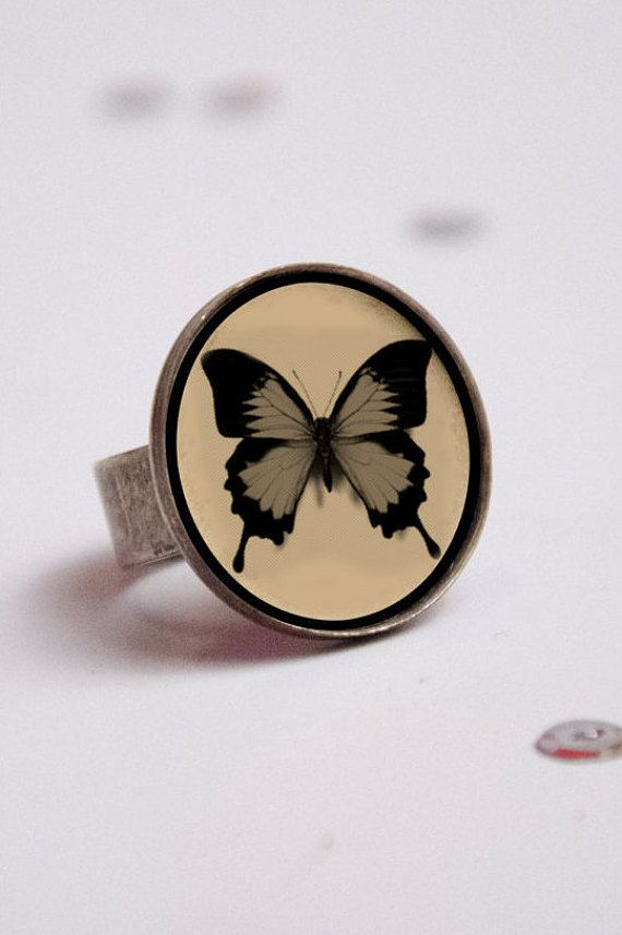anillo de mariposa. anillo con interior de cuero por yotoko en Etsy