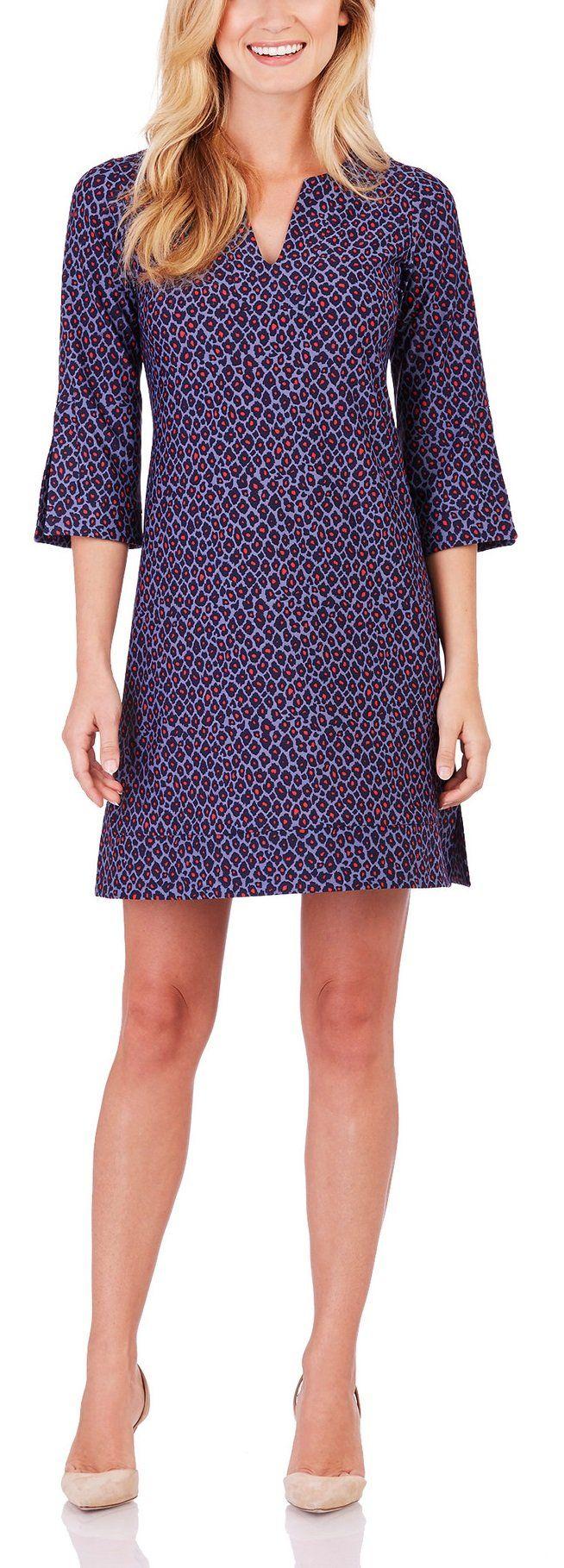 Jude Connally Megan 3/4 Tunic Dress in Mini Cheetah Crimson (Medium). V-neckline. 3/4 sleeve. Venting on hemline and sleeve. Nylon/spandex. Machine wash only. Do not bleach Cool iron if necessary.