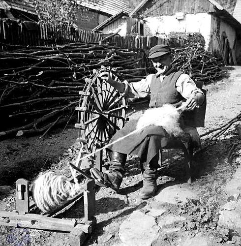 Slovakia spinner. Note foot treadling