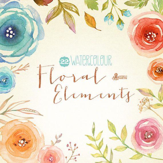 Watercolour Floral Elements: 22 Digital Clipart. Hand painted, watercolour floral, wedding diy eleme