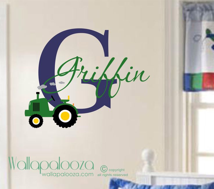 Custom name Tractor Kids Wall Decal - Vinyl Wall Decal - Boys Room Wall Decal - Tractor Decal - Farm Wall Decal - Boys Name decal by WallapaloozaDecals on Etsy https://www.etsy.com/listing/179563335/custom-name-tractor-kids-wall-decal