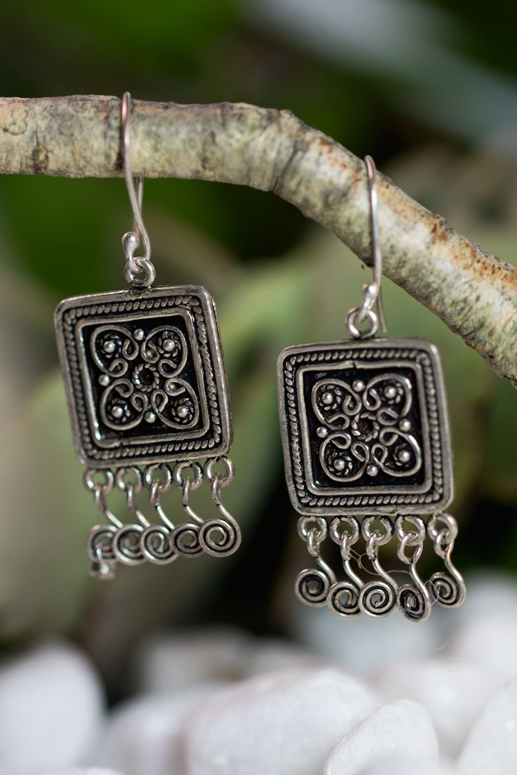 Square Filigree Sterling Silver Earrings from HindiIndie.com