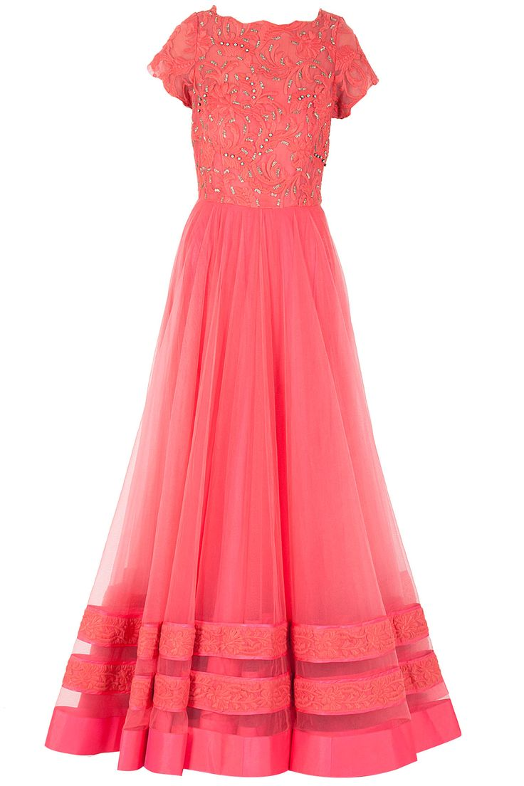 Coral lace embroidered anarkali available only at Pernia's Pop-Up Shop.
