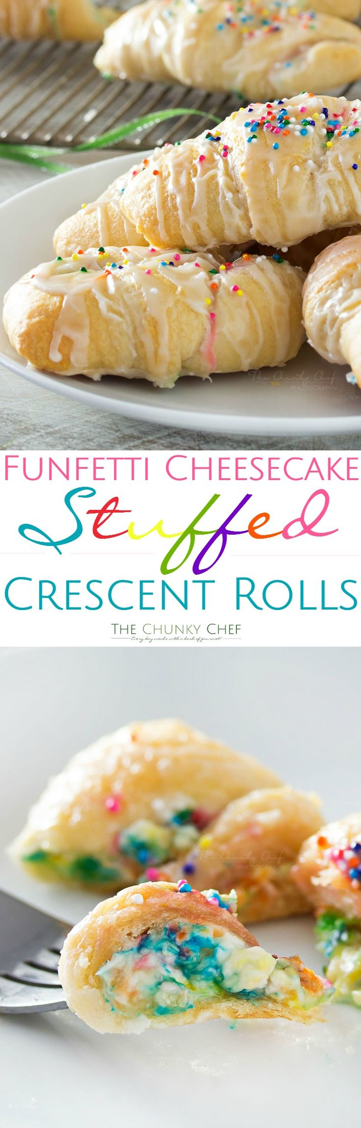 Funfetti-Cheesecake-relleno-Crescent-Rolls - Buttery crescent rollos se llenan con una propagación de pastel de queso funfetti fácil, horneado hasta dorado y rociado con un esmalte de vainilla !!  Perfecto para los niños!  |  Http://thechunkychef.com