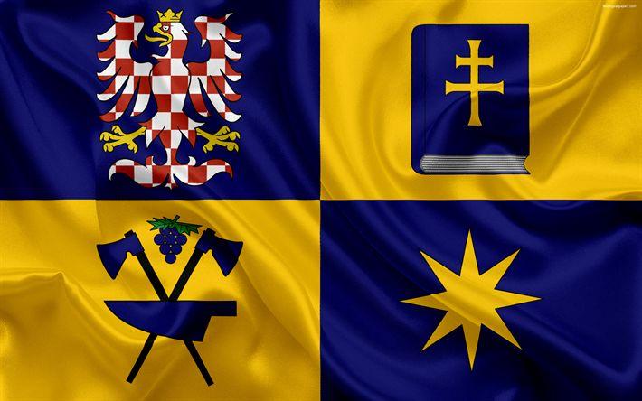 تحميل خلفيات علم Zlín المنطقة, الحرير العلم, 4k, الرموز الرسمية, أعلام الوحدات الإدارية, جمهورية التشيك, Zlín المنطقة