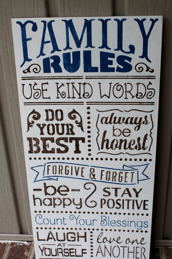 Family rules sign, home decor sign, hand painted, wood sign, subway art, typography sign, wall decor, shabby chic, rustic sign on Etsy, $45.00