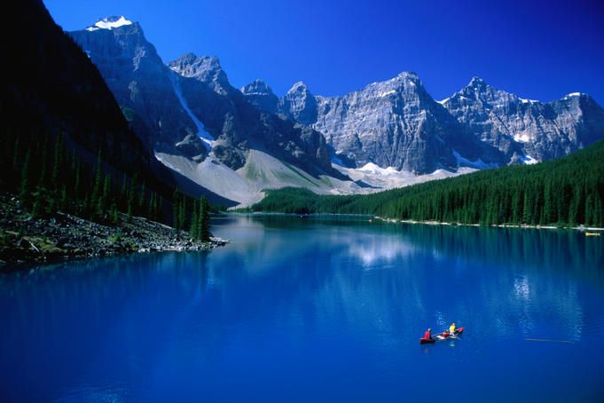 Moraine Lake, surrounded by the Rocky Mountains in the Banff National Park.