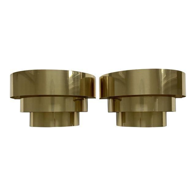 image of art deco style brass wall sconces a pair