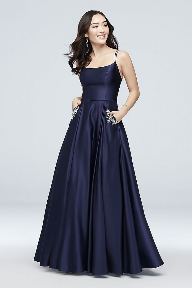 cd164fa99e26 Jewel-Pocket Strappy Satin Ball Gown Prom Dress | David's Bridal prom dress,  navy prom dress, blue prom dress, prom dress with pockets