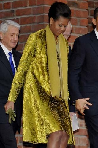 Michelle Obama In Chartreuse Jason Wu
