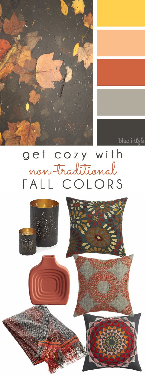 COZY FALL COLORS! A simple mood board to help you bring these non-traditional fall colors of coral, orange, and gray into your home decor.