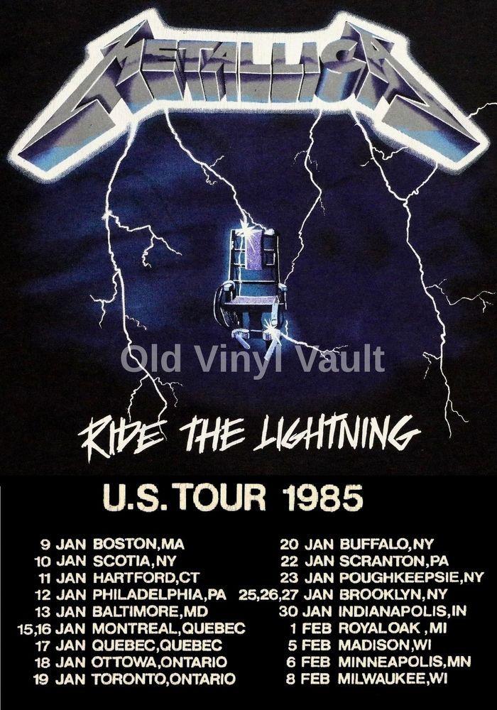 Metallica concert poster Ride The Lightning US Tour 85  A3 Repro