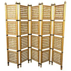 Mid-Century Danish Walnut Five-Panel Folding Room Divider