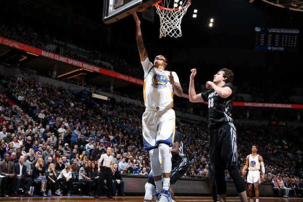 Matt Barnes of the Golden State Warriors shoots a lay up during the game against the Minnesota Timberwolves on March 10 2017 at Target Center in...