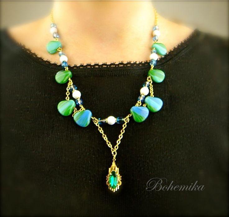 Antique Vintage Art Deco Czech Glass Gold Tone Necklace Pendant Shell BLUE GREEN #Pendant