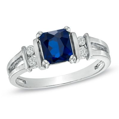 Radiant-Cut Sapphire and 1/10 CT. T.W. Diamond Ring in 14K White Gold