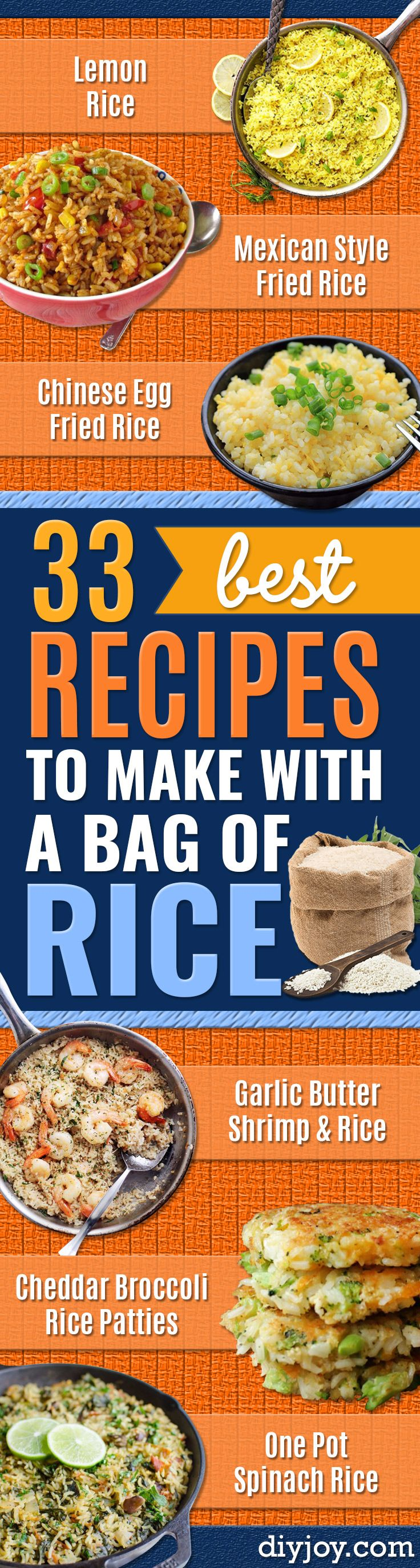 Best Rice Recipes - Lemon Rice - Easy Ideas for Quick Meals Made From a Bag of Rice - Healthy Recipes With Brown, White and Arborio Rice - Cheesy, Fried, Asian, Mexican Flavored Dinner Dishes and Side Dishes - DIY Projects and Crafts by DIY JOY http://diyjoy.com/best-rice-recipes