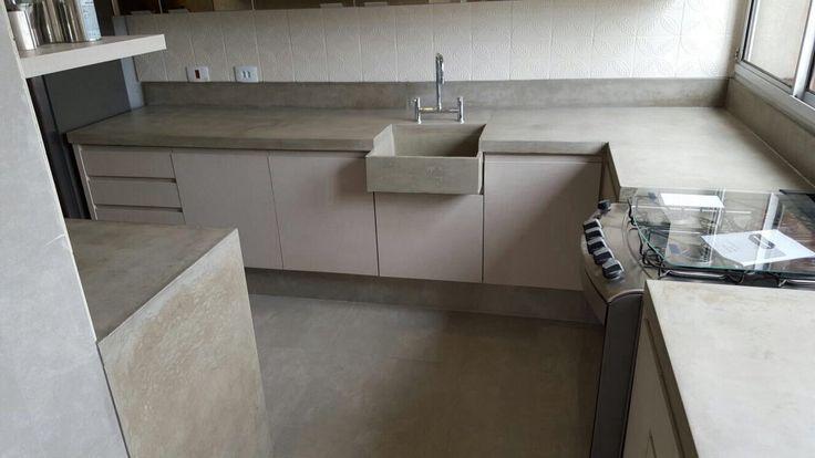 Bancada de concreto cozinha