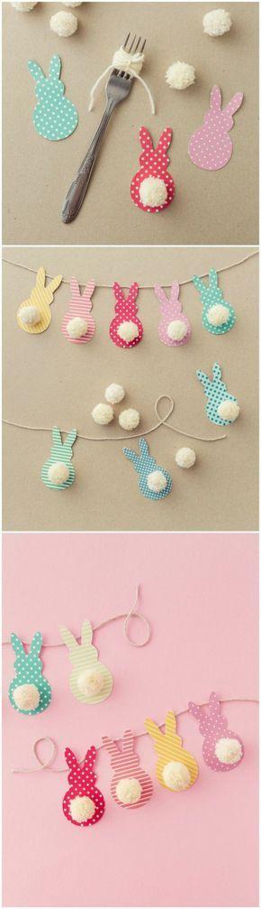 idée activités manuelles enfants en primaire, une guirlande de lapins en papier, avec des queues en pompons