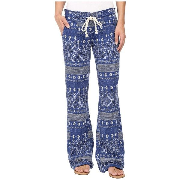 Roxy Oceanside Printed Pants (Deep Ocean/Blue Print) Women's Casual... ($45) ❤ liked on Polyvore featuring pants, print flare pants, flared trousers, drawstring beach pants, flared pants and elastic waist pants