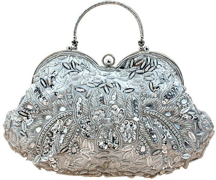 MissFox Women's Vintage Beaded Sequins Clutch Evening Bag Detachable Chain Handbag Silver