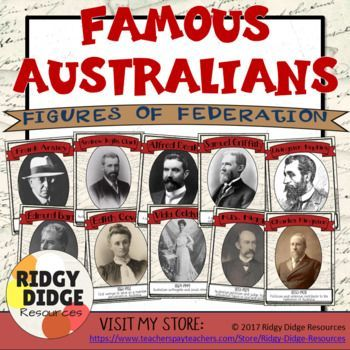 Famous Australians - Figures of  Federation Classroom Decor Posters