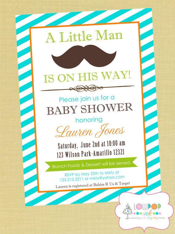 Little Man Mustache Baby Shower Printable Invitation
