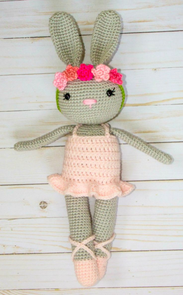 This little crochet bunny ballerina pattern has been such a joy to design! Her little dress and especially the floral crown (all the he...