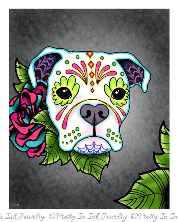 Boxer in White  Day of the Dead Sugar Skull Dog Art Print by Pretty In Ink Jewelry