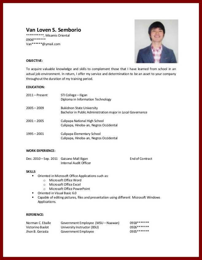 No Experience High School High School Resume Template Student