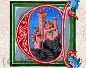 Alphabet Letter C, Medieval Illuminated Letter, Painted Initial C, Medieval Alphabet Art Print, Childs Name