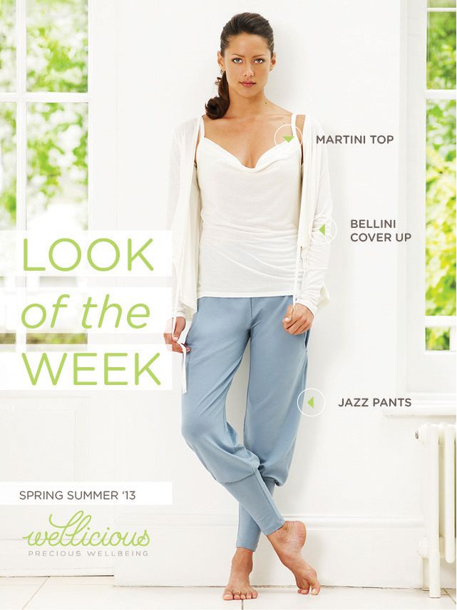 Check out the Wellicious look of the week! Do you want to combine comfort, style and femininity? Then this look is made for you!   Bellini Cover Up > http://www.wellicious.com/wellicious-bellini-cover-up.html Martini Top > http://www.wellicious.com/wellicious-martini-top.html Jazz Pants > http://www.wellicious.com/wellicious-jazz-pants.html