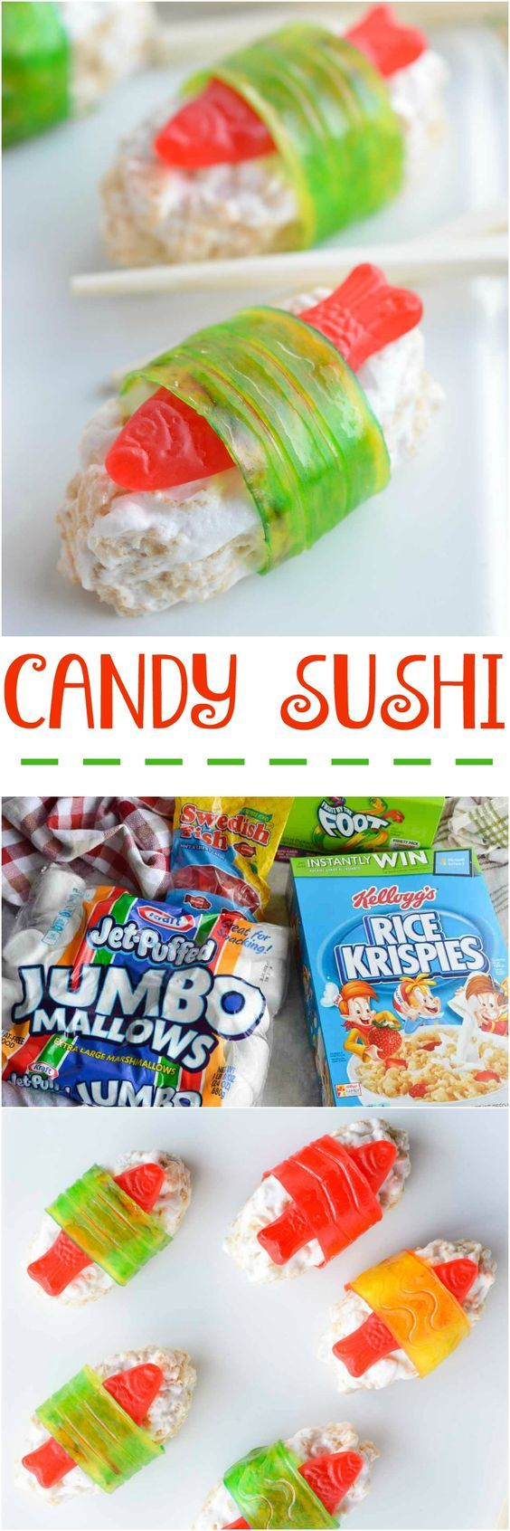 The kids will go crazy for this Candy Sushi! Made with rice crispy treats Swedish fish candy and fruit roll ups. This dessert sushi recipe is easy to make portable and great for parties.