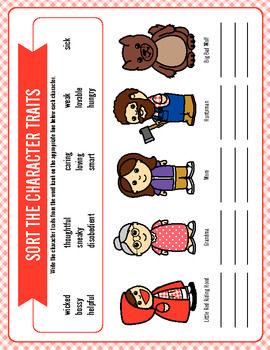 This item is aligned to the common core standards! This unit includes activities to accompany the Brothers Grimm version of Little Red Riding Hood. It includes activities for a week's worth of reading lesson plans. The unit targets the following skills: character traits, realism vs. fantasy, synonyms in context, reading comprehension, sequencing, and writing skills.