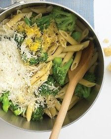 . Boil penne 6 minutes less than al dente; add broccoli florets, and cook until penne is al dente. Drain; return to the pot, and toss with a couple of crushed garlic cloves, some olive oil, the zest and juice of a lemon, salt and pepper, and plenty of Parmesan.